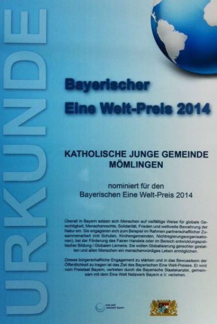 Bayerischer Eine Welt Preis 2014 Urkunde